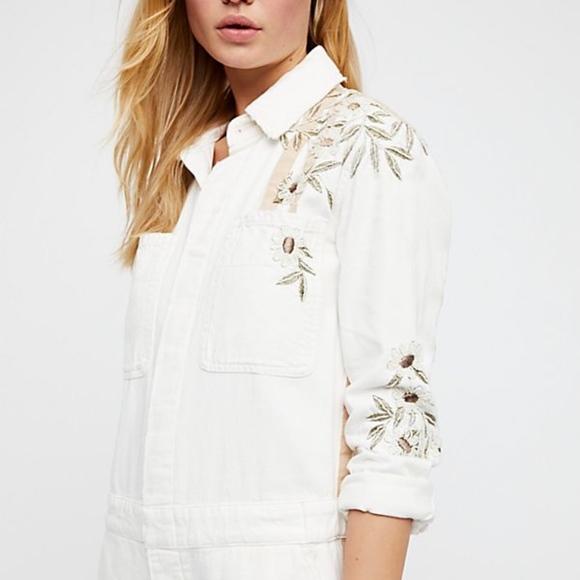 42e1979eab1 NWT Free People White Embellished Jumpsuit